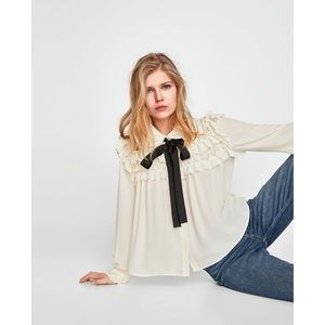 NWT Zara Ruffled Blouse with Contrast Neck Bow